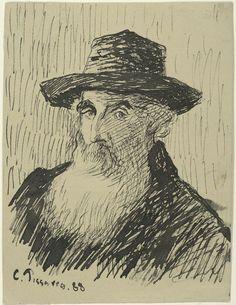 Self  portrait, Camille Pisarro  1830-1903, Ink drawing