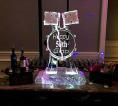 Drum kit ice luge for a 50th birthday party. #iceluges