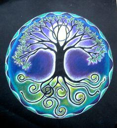 FULL MOON TREE OF LIFE MANDALA DRAWING - A Matted Print of an Original Prismacolor Mandala Drawing by Caterina Martinico