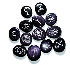 Witches' Rune Stones, in blue goldstone.