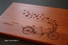 Bicycle Built For Two Personalized Cutting door ShadyOakBoardCo