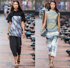 KENZO 2014 Spring Summer Womens Runway Collection - Paris Fashion Week - Mode à Paris - Beach Ocean Waves Brushtrokes Rain Fish Carp Print M...