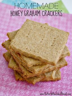 Homemade Honey Graham Crackers ~ you'll never want store bought again! From the ladies at Butter With A Side of Bread #recipe