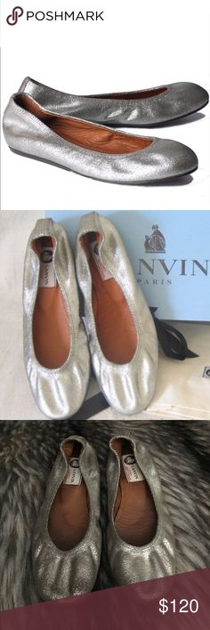 LANVIN Silver Metallic Cracked Leather Ballet Flat 100% Authentic LANVIN Classic Silver Metallic Destroyed Crackle Ballet Flats. Size 38. Retail price $595. Amazingly comfortable and cute! Fits true to size. Great pre owned condition with no rips, holes or odors. 100% Leather upper, inner and bottom sole. No trades please 💕 Lanvin Shoes Flats & Loafers
