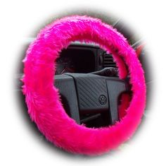 Barbie Pink steering wheel cover Hot faux fur furry fuzzy fluffy girly girl cute car van truck suv pretty cerise feminine love woman lady
