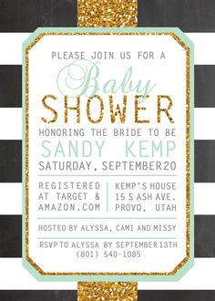 Mint and Gold Glitter with Black and White Chalkboard Stripes - Printable French Striped Baby Shower Invitation by BurlapAndBeauty