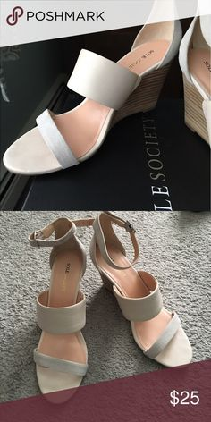 Wedge sandals Ecru and pale gray wedge sandals. Sole Society Shoes Sandals