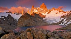 sunset in the torres del paine chile hd wallpaper