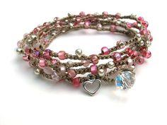 Romantic crochet wrap bracelet , pink valentine bracelet - Flirt - Bohemian jewelry, crochet jewelry heart charm, boho, love, long necklace