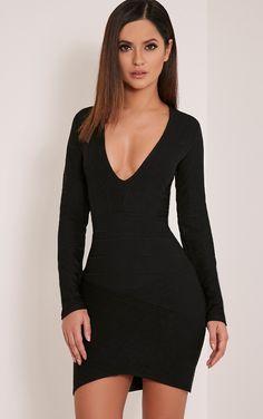 Jeana Black Bandage Plunge Bodycon Dress Image 1