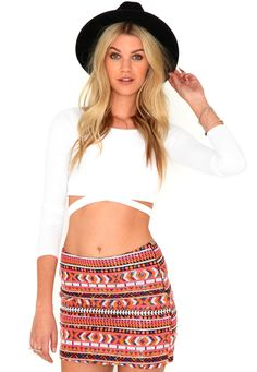 To wear with a knitted jumper....Rhea Aztec Sequin Skirt