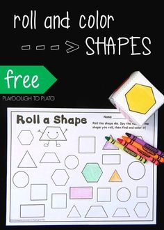 Roll a Shape Game for Kids! Fun way to teach kids the names and characteristics of shapes. Perfect shape game for preschool or early kindergarten Change to roll a fraction? Shape Games For Kids, 2d Shape Games, Teaching Shapes, Teaching Math, Kindergarten Math, Shape Worksheets For Kindergarten, Fun Math, Math Activities, Math Games