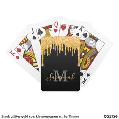 Black glitter gold sparkle monogram script playing cards 70th Birthday Card, Forty Birthday, Birthday Favors, Party Favors, Party Games, Black Glitter, Black Gold, 40 And Fabulous, Unique Birthday Gifts