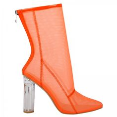 Callie High Ankle Heeled boots in Orange Mesh with Perspex heel