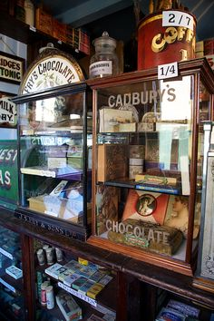 Early 1900s chocolate shop cabinets - Cadbury's and Fry's.