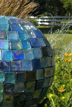 Mosaic Bowling ball made with glass tiles