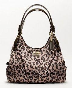 Coach inLeopard, grrrrr $298. at Macys comes in blk/grey, also #Coach #leopard #handbags