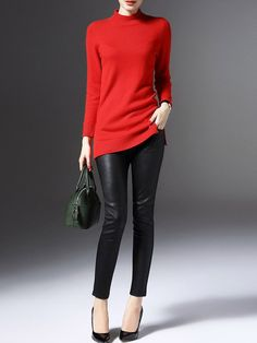 #StyleWe Shop LONYUASH Sweaters - Red Cashmere Long Sleeve Knitted Sweater online. Discover unique designers fashion at AdoreWe.net.