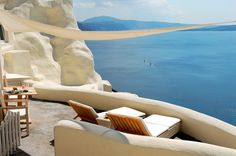 Perched almost precipitously on the rim of Santorini's caldera is the stunning Mystique Hotel