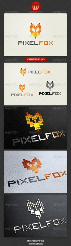 Pixel Fox Logo Design - Animals Logo Templates