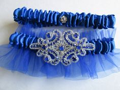Blue Wedding Garter Royal Blue Garters Navy by GibsonGirlGarters, $35.00