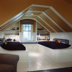 Ideas Inspiration Amusing Guys Attic Bedroom Double White Bed Frame Built Shelves Brown Painted Sloped Ceiling Single Sofas Furnishing Scintillating Beautiful Interior Decoration Design With Modern House Attic Design Ideas Attic Bedroom Designs, Attic Bedrooms, Attic Design, Bedroom Loft, Attic Bedroom Ideas Angled Ceilings, Bed Design, Bedroom Decor, Extra Bedroom, Upstairs Bedroom