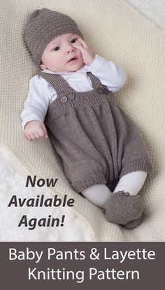 Baby Set with Short Pants, Hat, Cardigan and More AVAILABLE AGAIN! Baby outfit layette with matching short pants romper, cardigan, bonnet, booties, collar, and blanket. Sizes 0-3, 6, 12 months. Designed by Olaug Kleppe for Dale Garn as 310-01. Fingering weight yarn. English only. Baby Knitting Patterns, Baby Boy Knitting, Knitting For Kids, Baby Patterns, Free Knitting, Knitted Baby, Baby Clothes Patterns, Clothing Patterns, Crochet Baby Clothes Boy