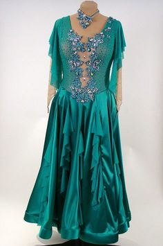 Emerald Green dance crepe and satin