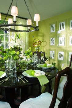 Get inspired by Farmhouse Dining Room Design photo by Benning Design. Wayfair lets you find the designer products in the photo and get ideas from thousands of other Farmhouse Dining Room Design photos. Green Dining Room, Dining Room Table Decor, Dining Room Colors, Country Dining Rooms, Dining Room Walls, Green Rooms, Dining Room Design, Room Decor, Green Walls
