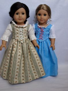 """The """"Colonial Green Elegance"""" Dress made for American Girl 18"""" dolls. $85.00, via Etsy."""