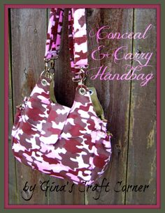 Conceal & Carry Pink Camo Handbag by Gina's Craft Corner