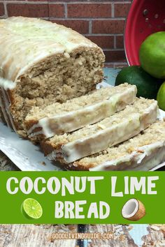 One bite of this Coconut Lime Bread and you'll be whisked away to a tropical paradise! Moist, soft, and slightly sweet, it's perfect with coffee or a cup of tea! Banana Walnut Bread, Cupcakes, Limes, Savoury Cake, Sweet Bread, Other Recipes, Clean Eating Snacks, Dessert Recipes, Lime Desserts