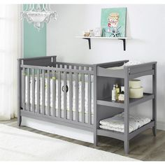 We love the look of this stunning grey baby crib/changing table combo, perfect for a girl or boys room.