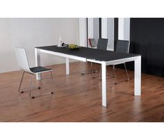 Table extensible rectangulaire REGLISSE - Blanc et gris .table carrefour home