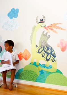 Dino-Dragons! Oversize wall decals would be so much fun in a child's bedroom or a playroom.