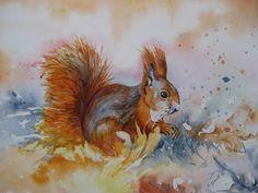Eichhörnchen im Herbst von Aranka`s Shop auf DaWanda.com