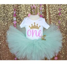 Mint tutu, First birthday baby girl, first birthday outfit, baby clothes, princess them party, baby fashion, one glitter onesie, pink one by GABYROBBINSDESIGNS on Etsy