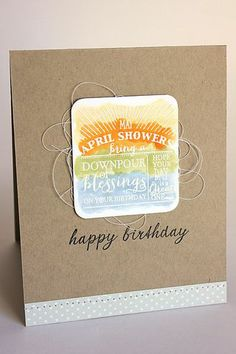April Showers Birthday Card by Heather Nichols for Papertrey Ink (March 2014)