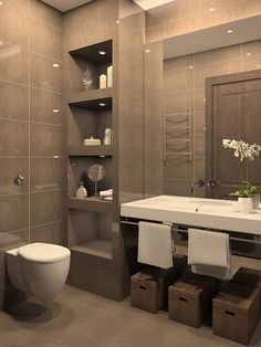50 baños pequeños | 50 small bathrooms                                                                                                                                                      Más Brown Bathroom, White Bathroom Decor, Silver Bathroom, Gray And White Bathroom, Bathroom Layout, Bathroom Faucets, Bathroom Medicine Cabinet, Bathroom Interior Design, Bathroom Lighting