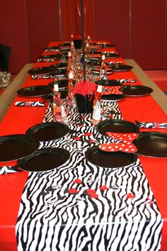 Minnie Mouse Party - love the zebra with it, could reuse some of the zebra decor from her 1st party.