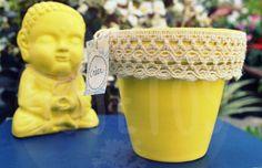 Maceta pintada a mano con guarda - colores a elección     Buda de la armonía - colores a elección