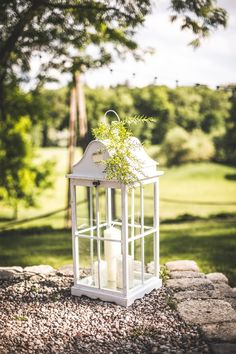 duża latarnia / big lantern #wedding #decoration #lantern #rustic #light #candle #garden