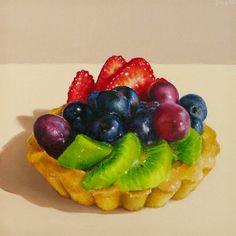 Fruit Tart I (Oriana Kacicek) Food Art Painting, Watercolor Cake, Still Life Fruit, Pastry Art, Fruit Tart, No Cook Desserts, Food Drawing, Good Enough To Eat, Dessert Drinks