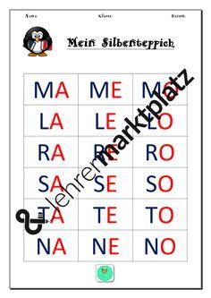 Da ich immer wieder feststelle, wie unterschiedlich das Leselerntempo meiner  Erstklässler ist, habe ich diesen fünffach differenzierten Silbenteppich entworfen.Folgende Buchstaben sollten dafür bereits bekannt sein: M A L E O R S T N 1. Differenzierungsstufe:alle Buchstaben sind groß geschrieben und jeder einzelne Buchstabe ist farbig unterschiedlich markiert.2. Differenzierungsstufe:alle Buchstaben sind groß geschrieben3. Differenzierungsstufe:alle Buchstaben sind klein…