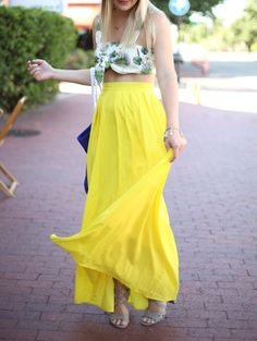 SHARE & Get it FREE | High-Waisted Maxi Skirt - YellowFor Fashion Lovers only:80,000+ Items • New Arrivals Daily Join Zaful: Get YOUR $50 NOW!