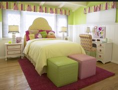 """For the transitional """"tween""""-age girl of 10 years old, a palette of bright citrus colors and bold graphic patterns are used to ensure the space will grow with her as she becomes a teenager."""