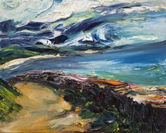 Seascape painting of Ballymoney beach in Wexford with dramatic sky Seascape Paintings, Abstract Landscape, Oil On Canvas, Places To Visit, Waves, Sky, Beach, Artist, Outdoor