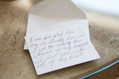Morning-of notes. The bride and groom write each other a note the night before the wedding, and make sure it stays sealed until the morning of. Such a sweet sentiment!