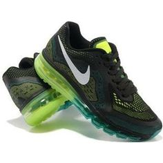 size 40 08c41 cdedb New Nike Air Max 2014 Mens Shoes New Black Green Cheap Sneakers, Nike  Sneakers,