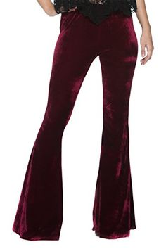 Women's Vintage Glam Rock and Roll Indie Wide Leg Flared Bell Bottom Pants Burgundy Velvet) Bags Online Shopping, Discount Shopping, Bell Bottom Pants, Bell Bottoms, 70s Glam Rock, Trendy Fashion, High Fashion, Gypsy Pants, Slouchy Sweater